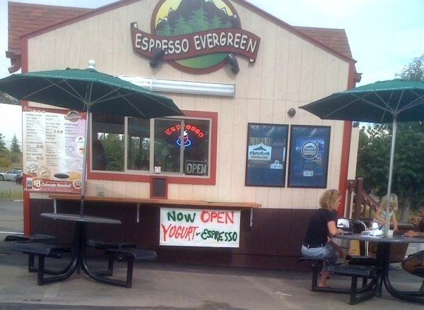 Espresso evergreen drive through coffee shop now for Evergreen shop